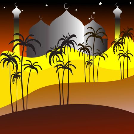 Illustration of Mosque grateful for the arrival of the Holy Month of Ramadan. Stock Vector, Yellow, Dark Brown Background
