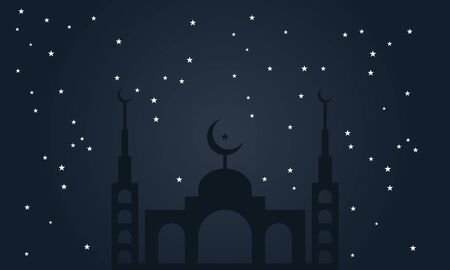 islamic background with mosque night sky design vector Illustration