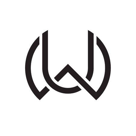 W U / U W letter logo design vector