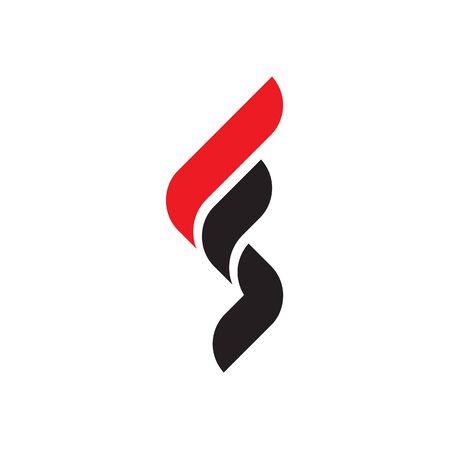 red black modern F S / S F logo design vector