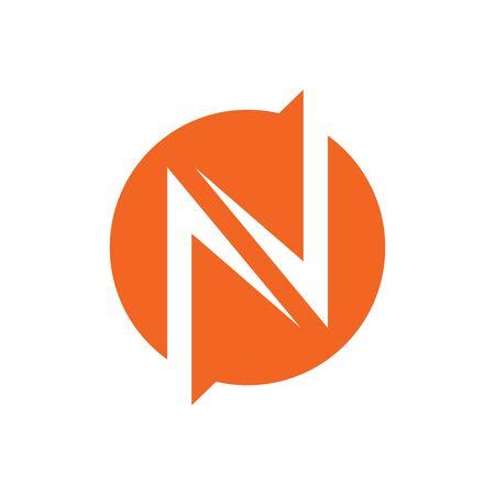 N lightning circle logo design concept