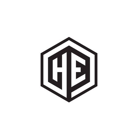 H E hexagon letter logo design concept