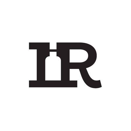 R / I R letter logo bottle design concept