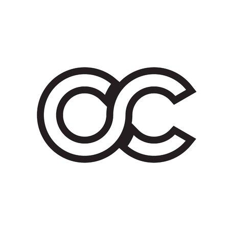 O C letter lines logo design vector