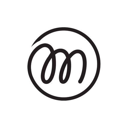 circle lines M lowercase letter logo design vector
