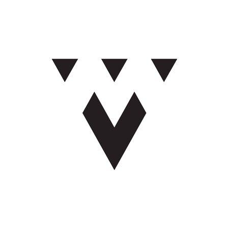 triagle M / M V negative space logo design concept