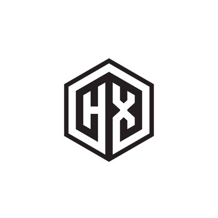 H X hexagon letter logo design concept