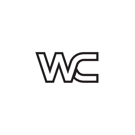 W C initial letter lines logo design vector