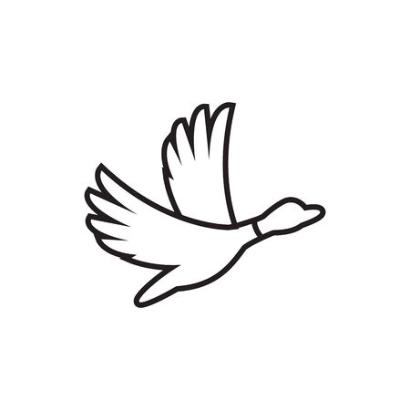 line duck fly icon vector. creative vector illustration.