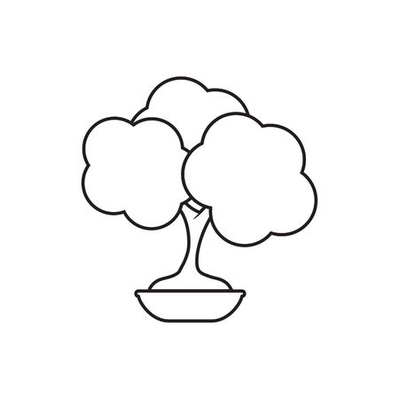 bonsai lines icon symbol vector isolated on white background