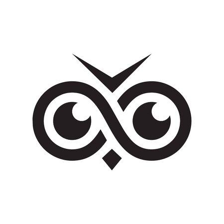 infinity eye owl icon symbol vector isolated on white background