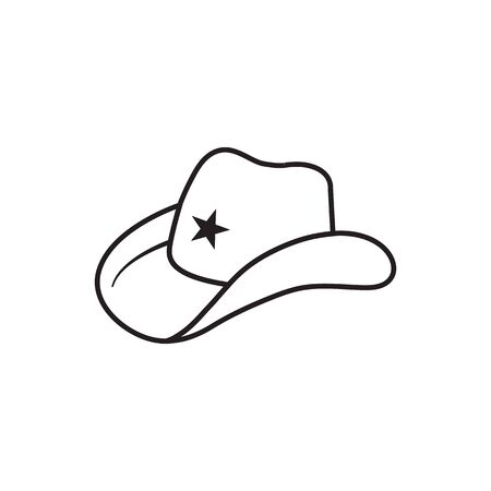 lines icon hat cowboy symbol vector isolated on white background Illustration