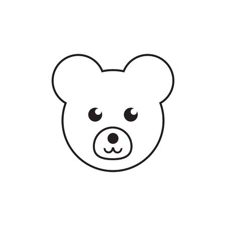 lines teddy bear cute icon symbol vector isolated on white background