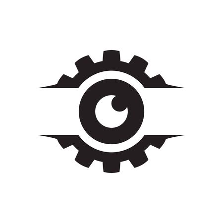 gear with circle eye vector design concept Иллюстрация