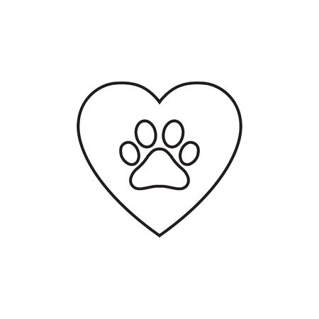 lines heart animal footprint icon vector isolated on white background