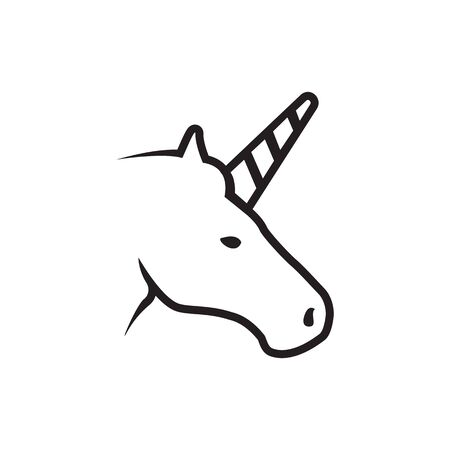 lines head unicorn icon symbol vector isolated on white background