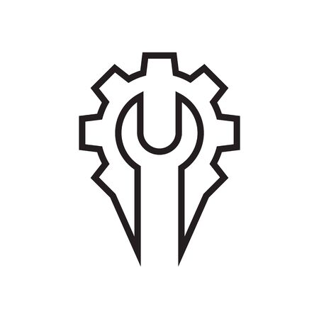 wrench gear lines logo. creative icon vector illustration.