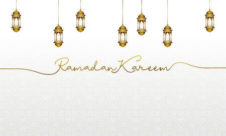 ramadan kareem greeting cards with gold islamic lantern Ilustracja