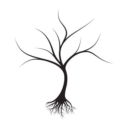 dead tree with roots design vector illustration