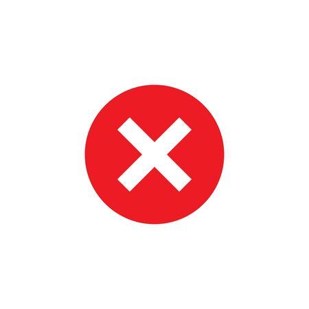 crossmark red circle icon button vector isolated on white background Ilustración de vector