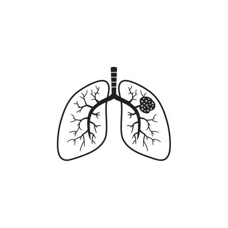 line icon lung cancer vector isolated on white bcakground Vector Illustration