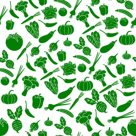 fresh green vegetables pattern design vector