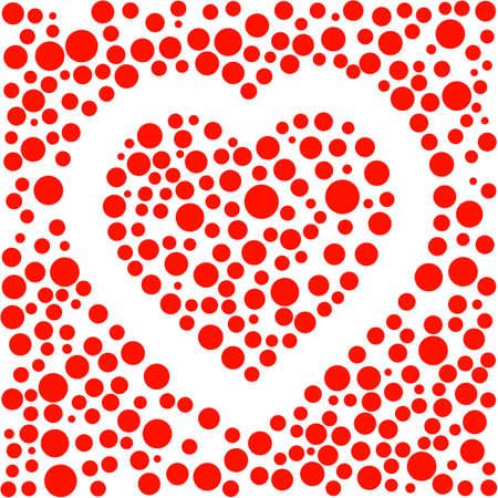 red spotted shape heart love design vector illustration