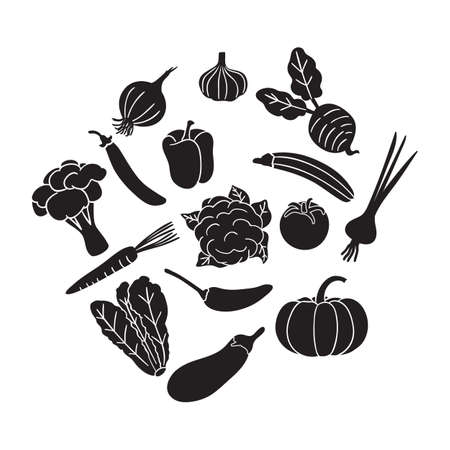 vegetables icon vector isolated on white background 向量圖像