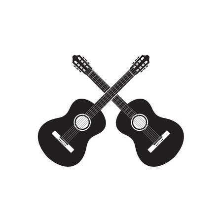 acoustic guitar cross design vector isolated on white background