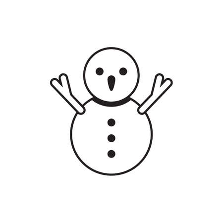 line icon snowman isolated on white background 向量圖像