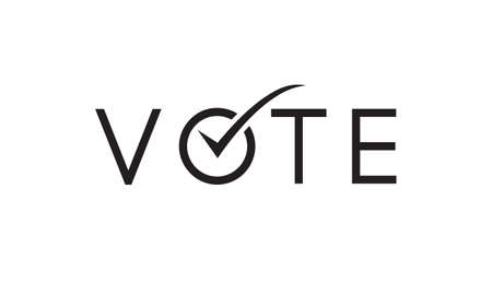 vote word with checkmark sign symbol vector