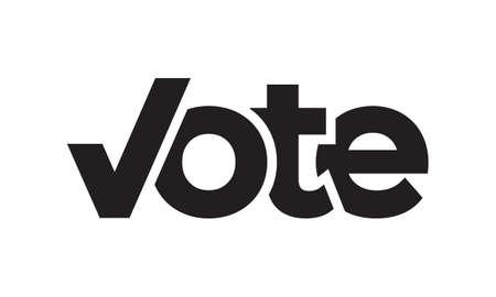 text vote with letter V shape checkmark design vector illustration