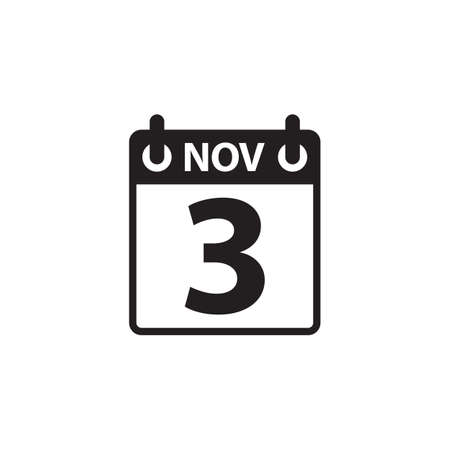 3 november calendar icon vector isolated on white background