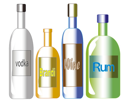 Four bottles filled with different types of alcoholic beverages