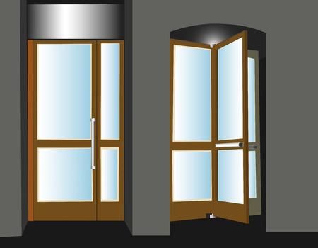 businesslike: Dos puertas, entrada y salida, en un edificio gris, visionario, moderno