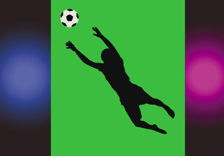 Goalkeeper catching a ball on a green background while playing soccer