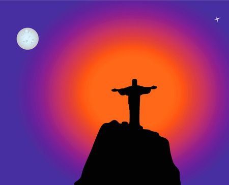 Monument Jesus standing on a high hill at sunrise. Illustration