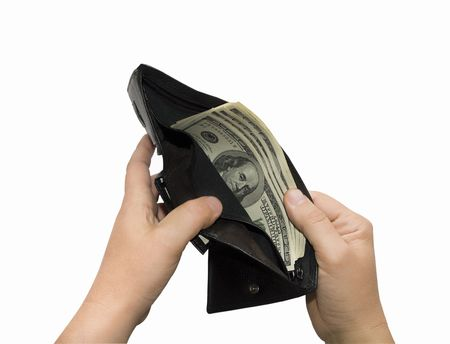 Hands open up a purse with dollars, insulated on white background