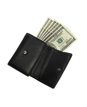Black wallet on a white background with the isolation sticking in denominations of 100 Dolar
