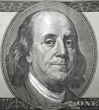 Part of the American $ 100 bills which shows Benjamin Franklin, one of U.S. Presidents Stock Photo