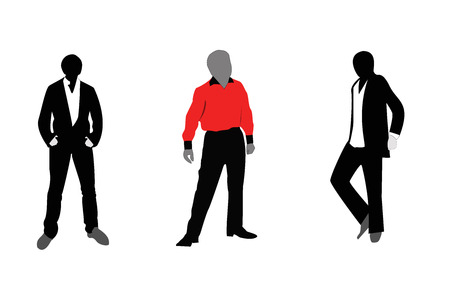 Illustration, three men dressed in different styles of fashion on a white background. Illustration
