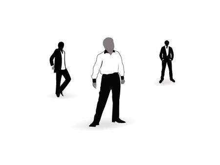 Illustration, three men stand on an isolated white background.