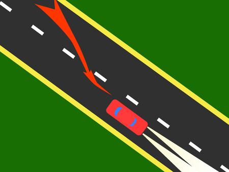 Red car at high speed lane changes.