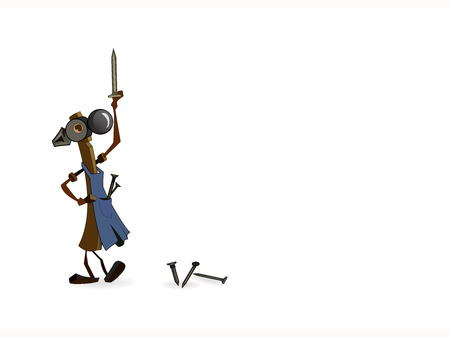 The Illustration on white background, merry gavel keeps in hand nail, beside lies else three.