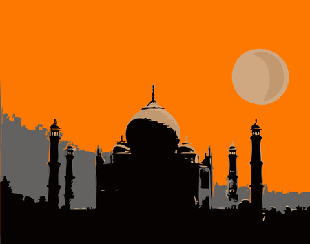 Illustration, the famous palace,Taj Mahal, which is located in India. Vector
