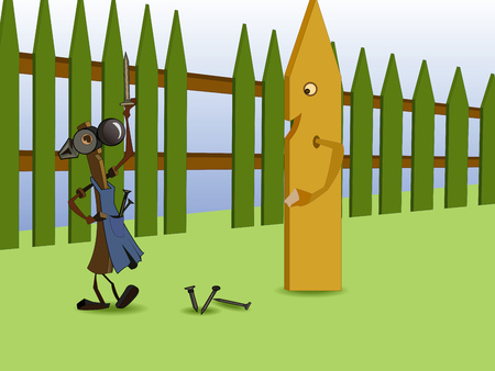 Illustration, merry hammer repair the fence, offering a board to take the empty seat. Illustration