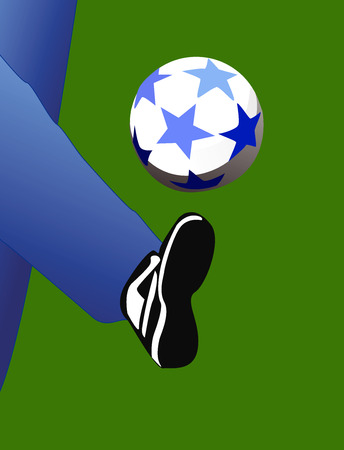 Illustration leg beating a soccer ball on a green background.