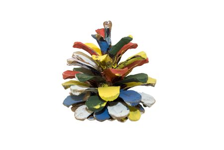 The image of pine cones, decorated with colorful paints on a white background.