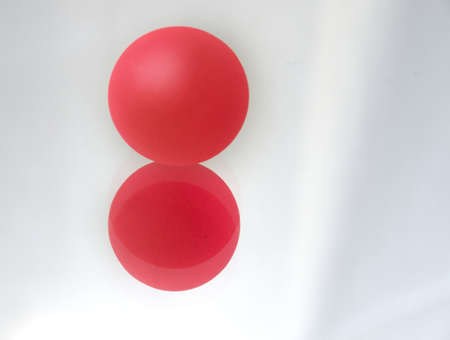 The image, red sphere and circles on the isolated background Stock Photo