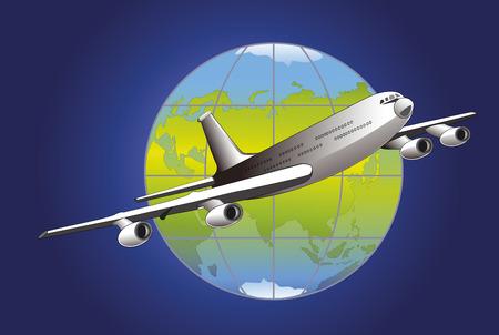 Illustration passenger aircraft flying over the globe on a blue background Illustration